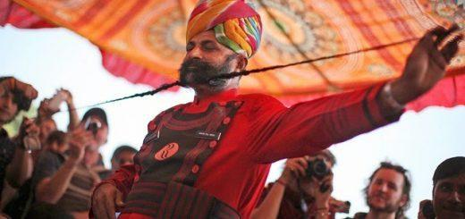 A participant at the longest moustache competition at Pushkar Fair in Rajasthan