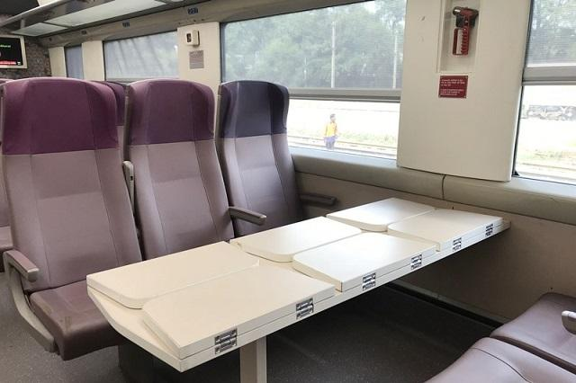 Vande Bharat Express:  In the case of the non-Executive chair car, the seats are arranged in 3+2 form. A foldable snack table is fixed to the center table that fills up the gap between the seat and the main table.