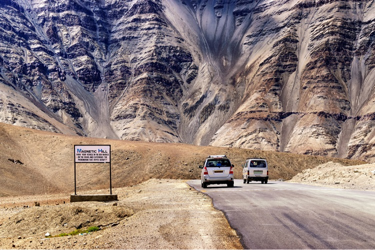 Witness Gravity Bend Down in Front of Nature in Magnetic Hills in Ladakh